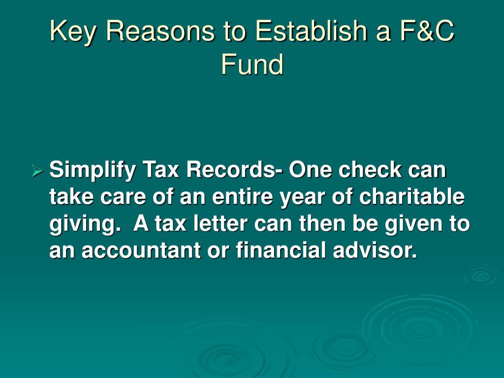 Key Reasons to Establish a F&C Fund