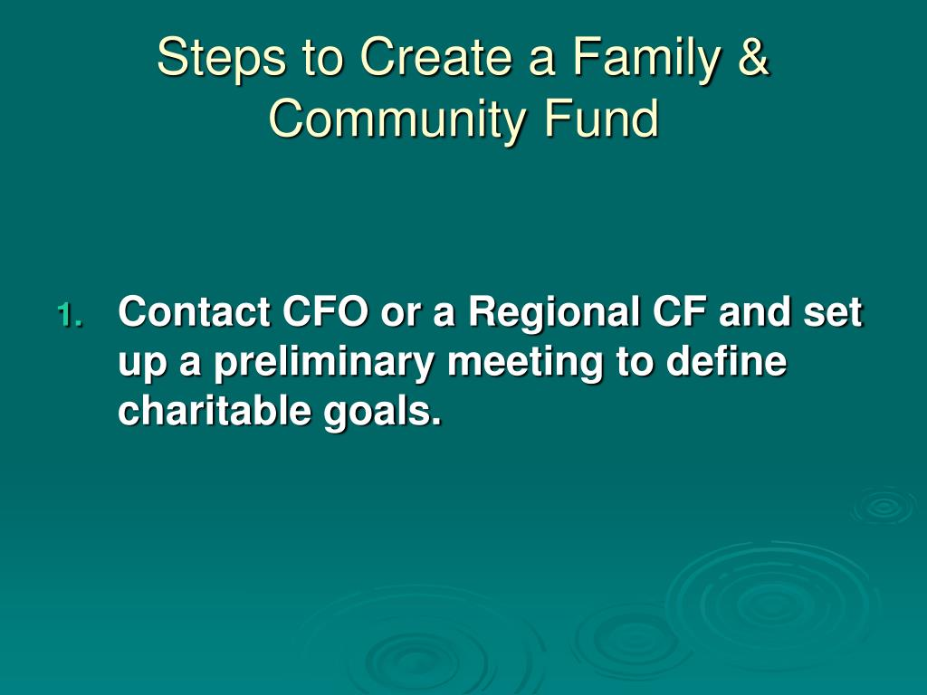 Steps to Create a Family & Community Fund