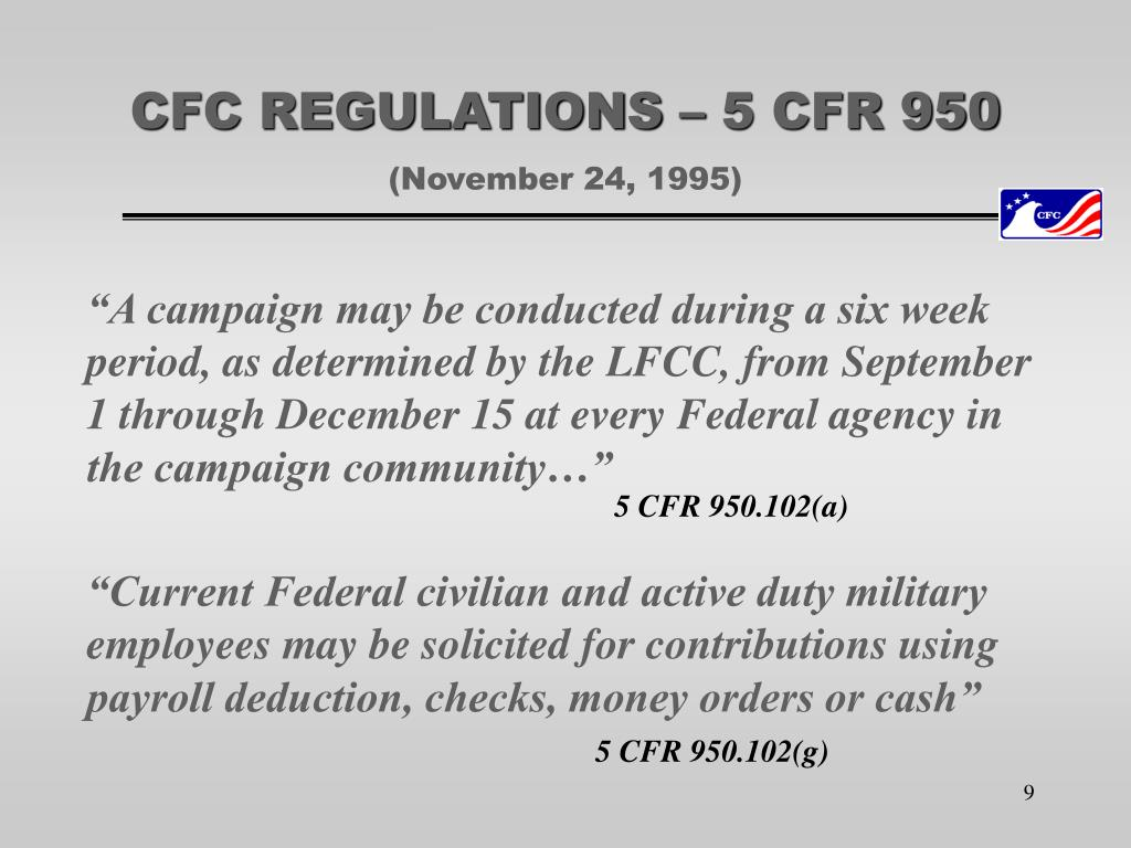 CFC REGULATIONS – 5 CFR 950