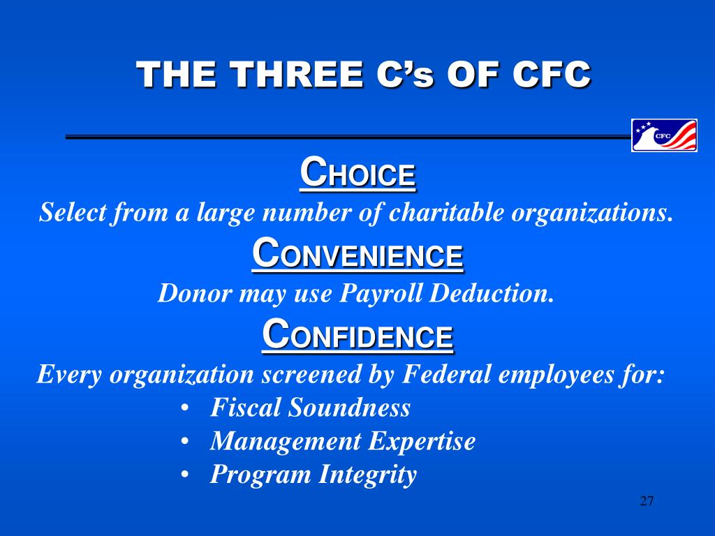 THE THREE C's OF CFC