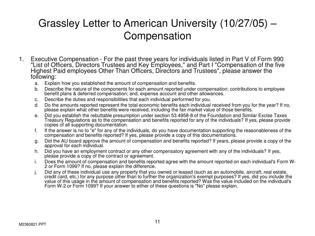 Grassley Letter to American University (10/27/05) – Compensation