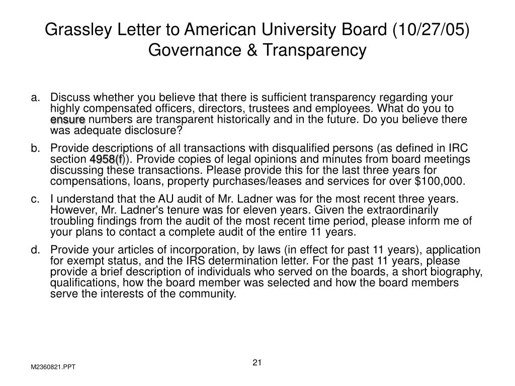Grassley Letter to American University Board (10/27/05)