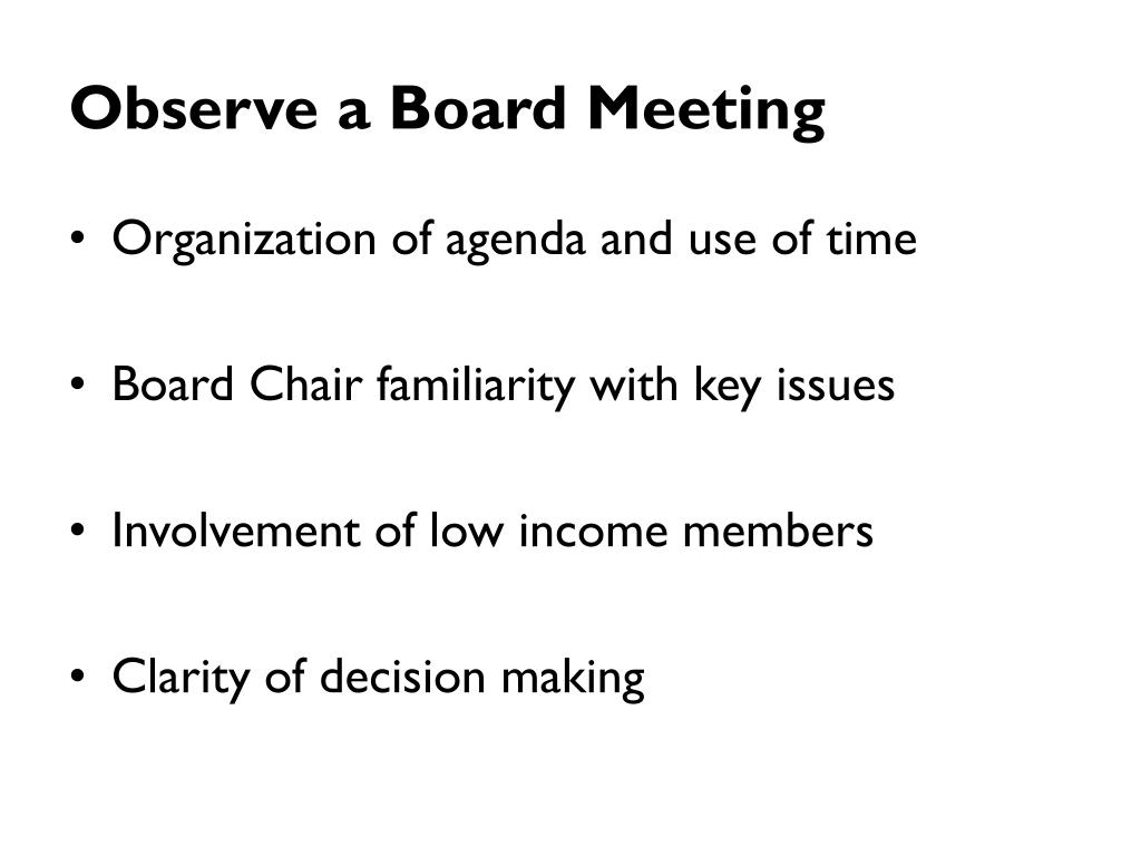 Observe a Board Meeting