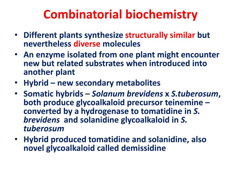 Combinatorial biochemistry