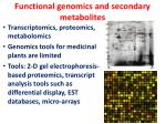 functional genomics and secondary metabolites