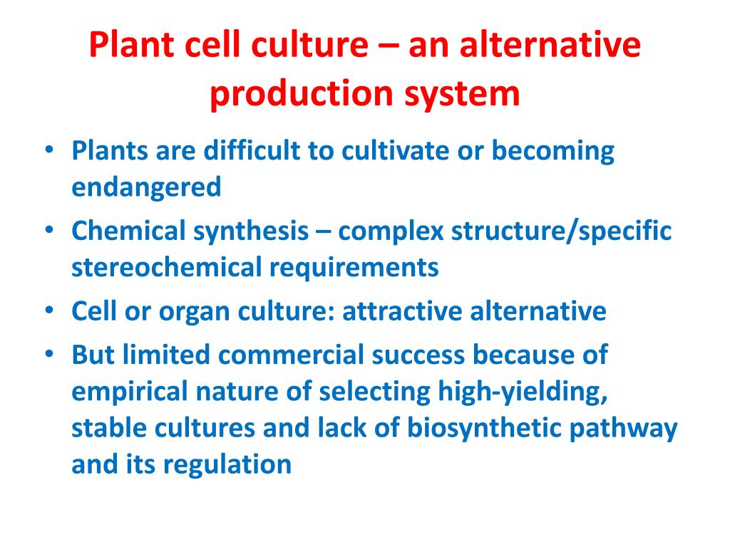 Plant cell culture – an alternative production system