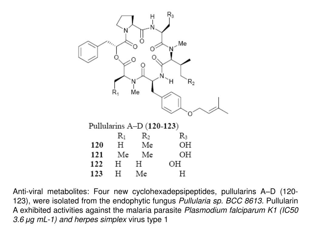 Anti-viral metabolites: Four new cyclohexadepsipeptides, pullularins A–D (120-123), were isolated from the endophytic fungus