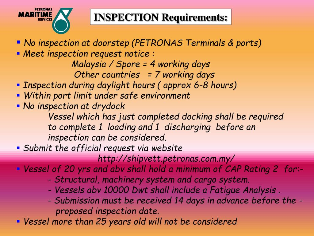 INSPECTION Requirements: