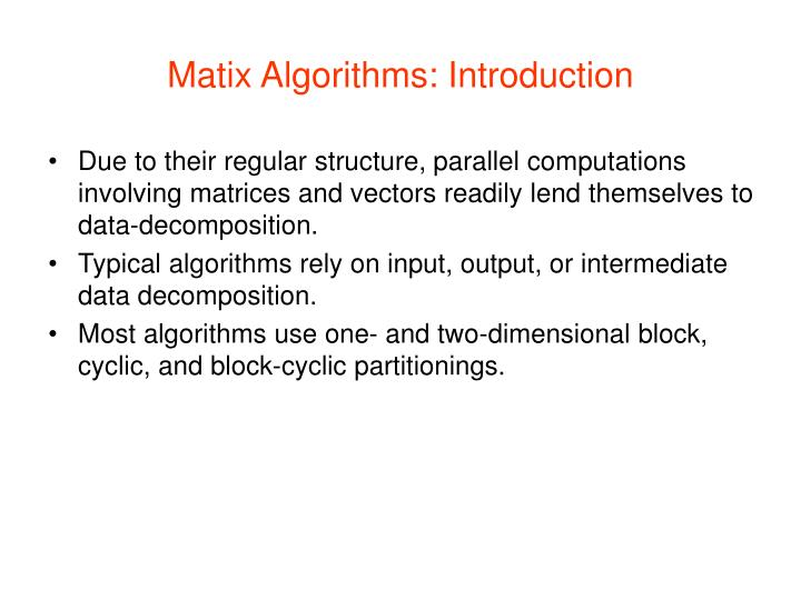 Matix Algorithms: Introduction