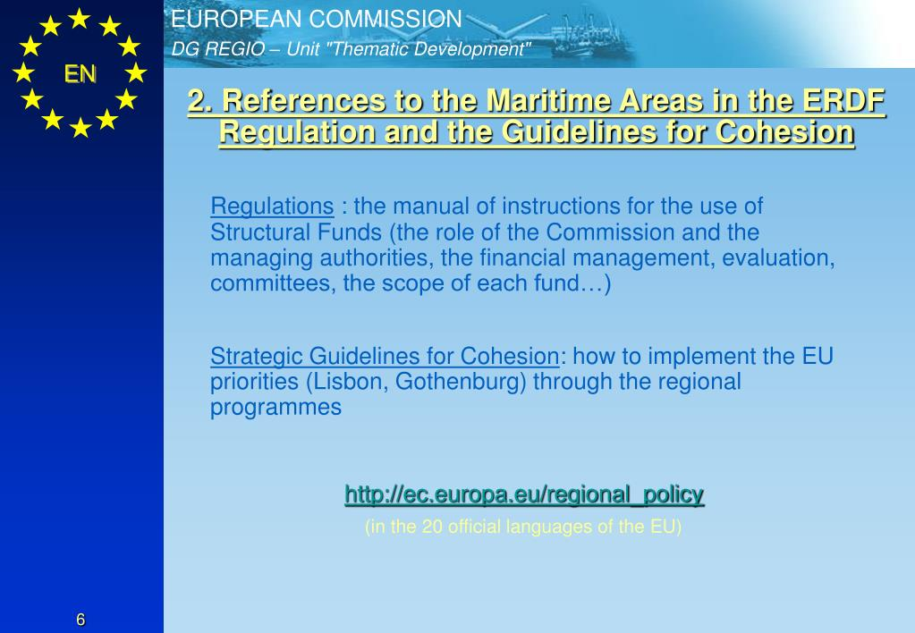 2. References to the Maritime Areas in the ERDF Regulation and the Guidelines for Cohesion