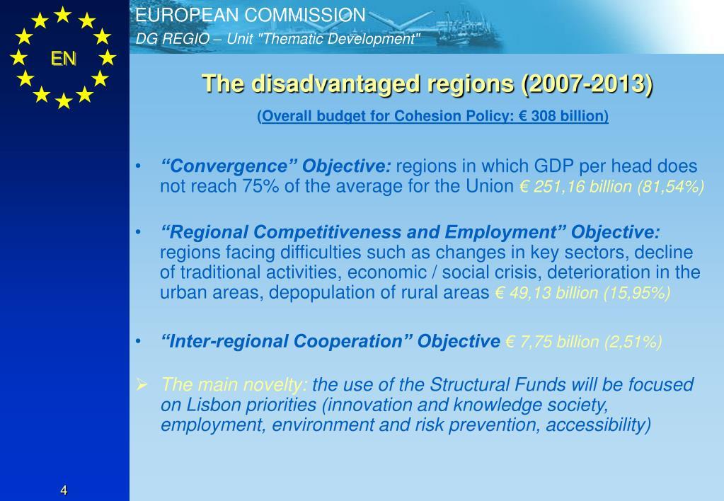 The disadvantaged regions (2007-2013)