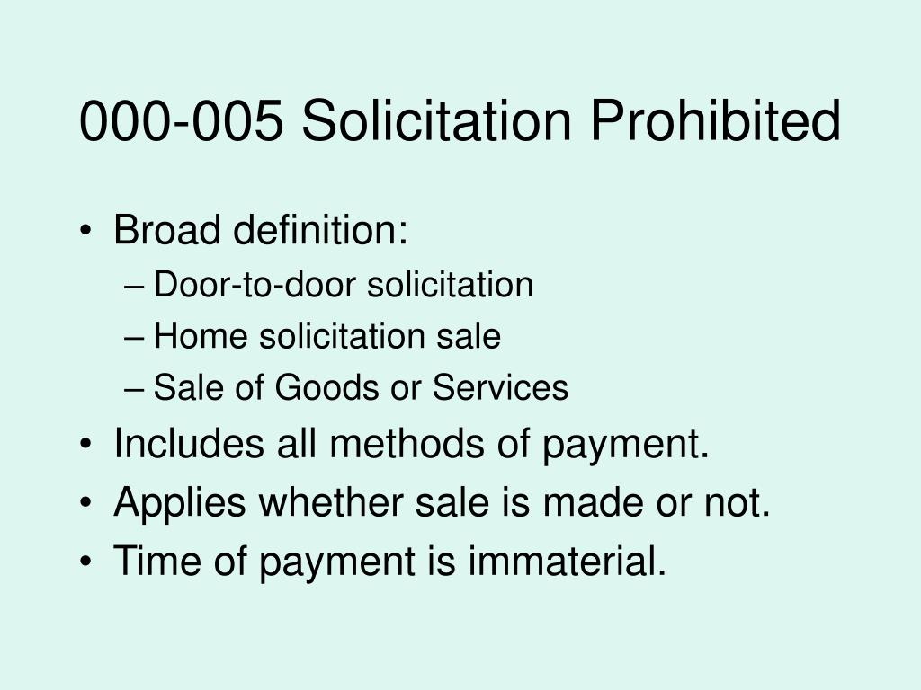 000-005 Solicitation Prohibited