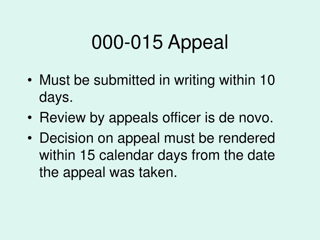 000-015 Appeal