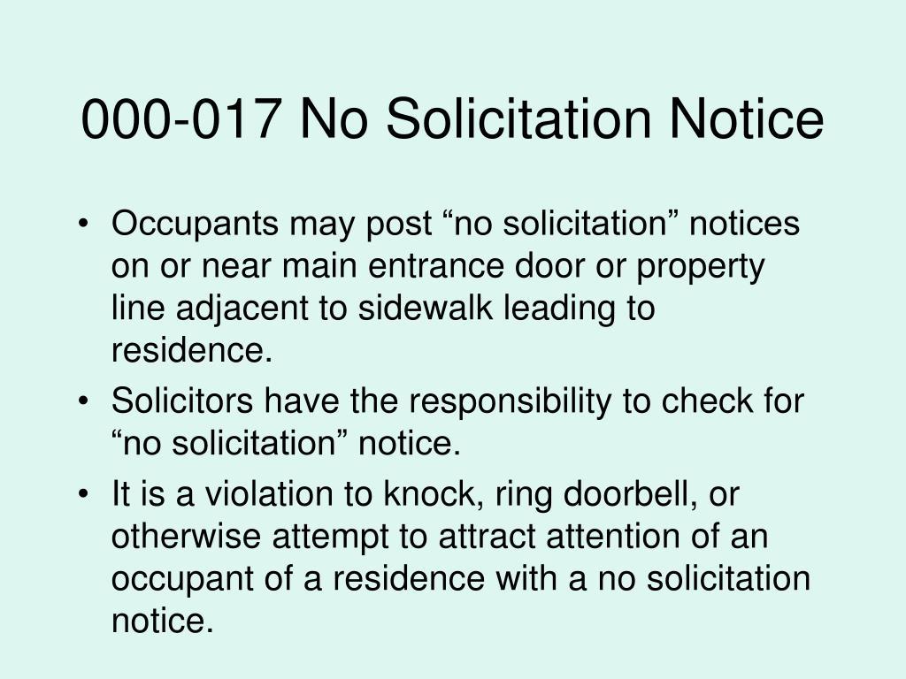 000-017 No Solicitation Notice