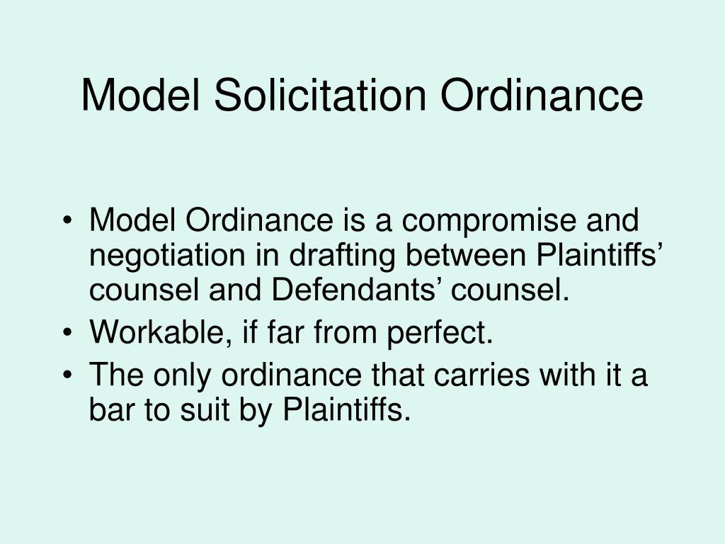 Model Solicitation Ordinance