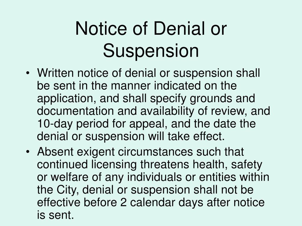 Notice of Denial or Suspension