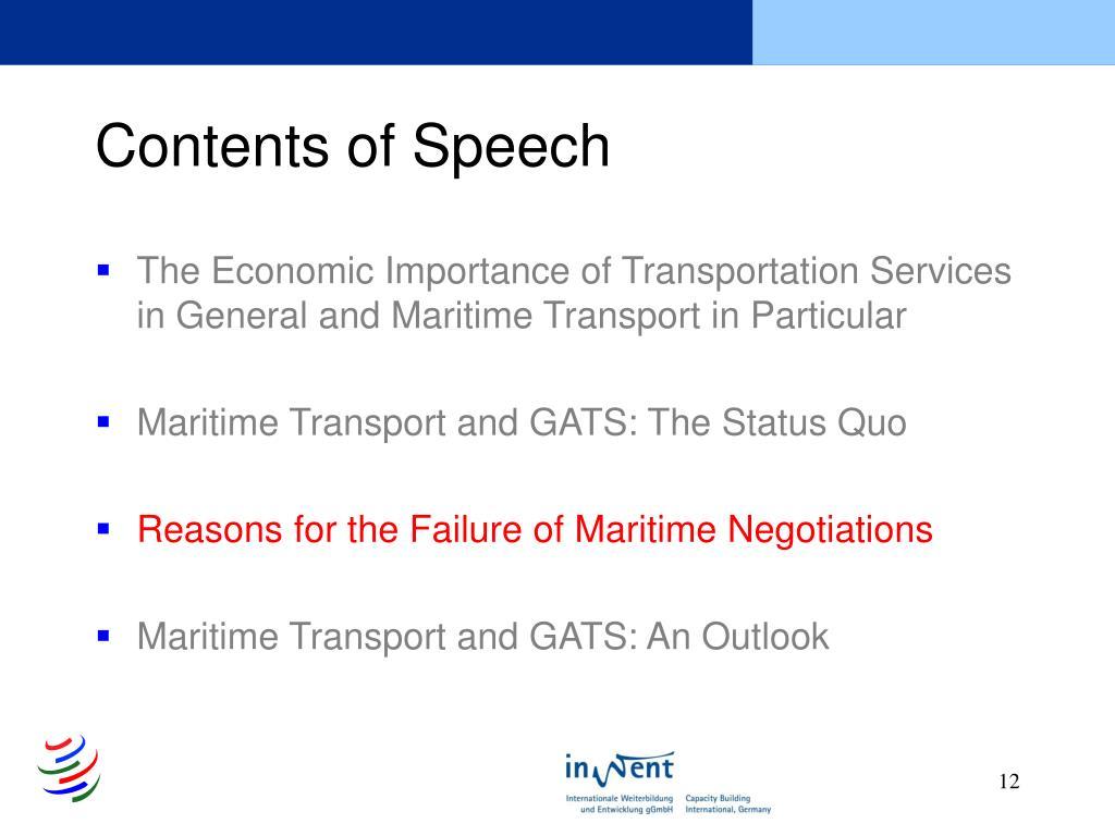 Contents of Speech