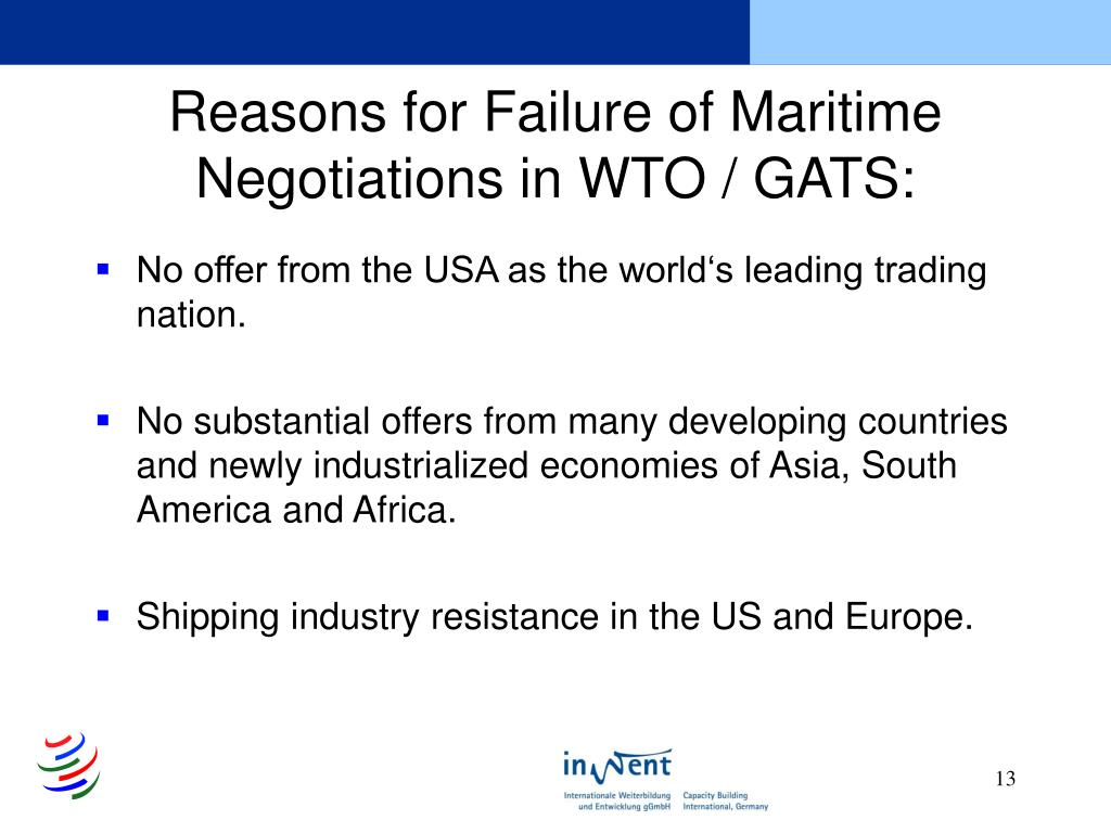 Reasons for Failure of Maritime Negotiations in WTO / GATS: