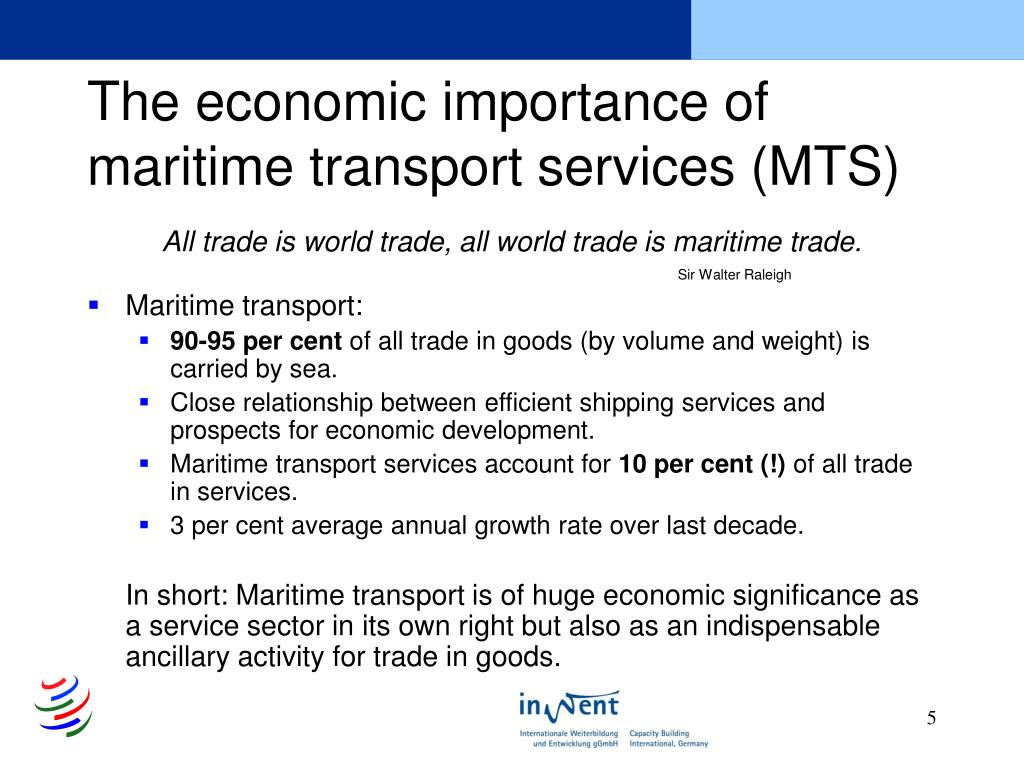 The economic importance of maritime transport services (MTS)