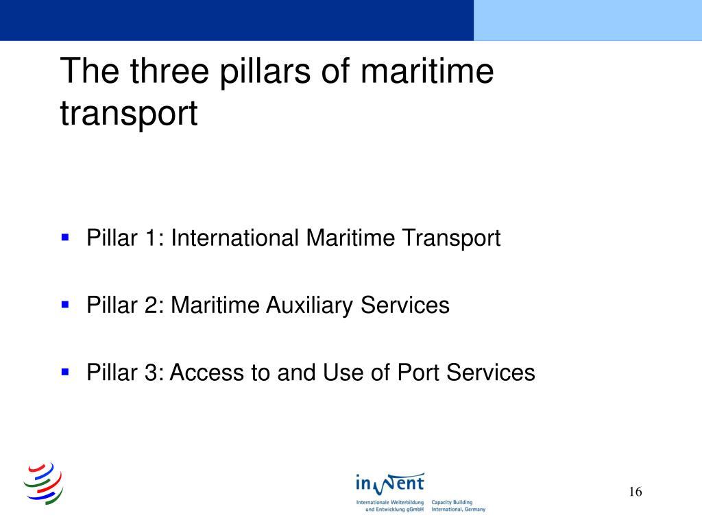 The three pillars of maritime transport