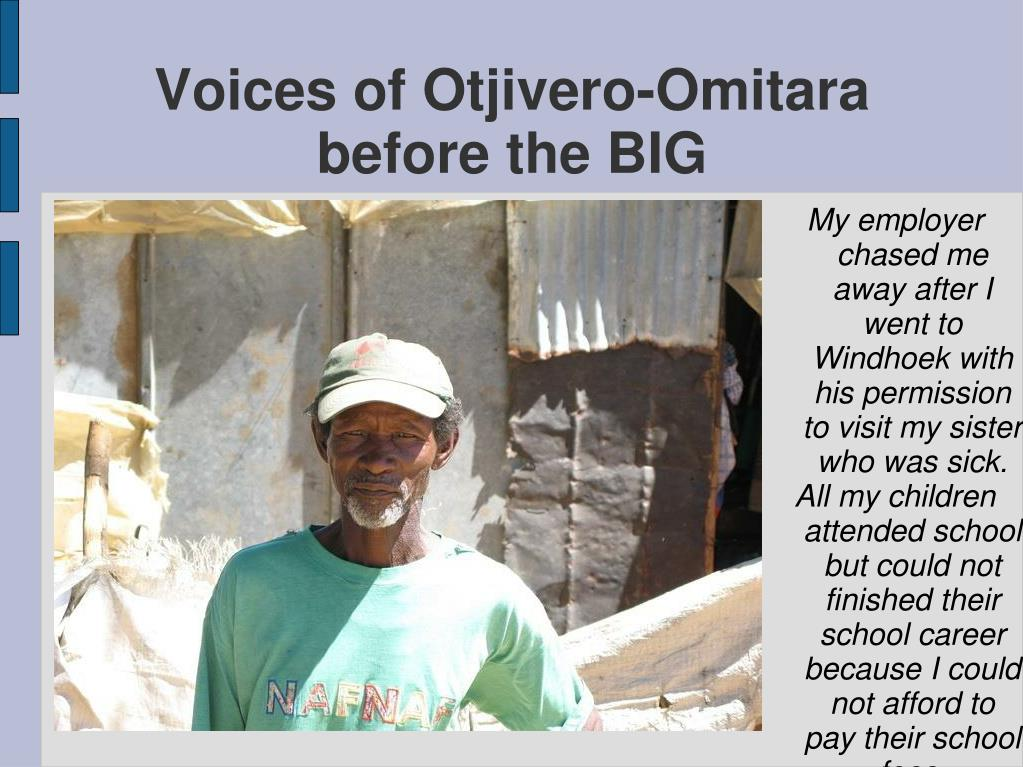 Voices of Otjivero-Omitara before the BIG