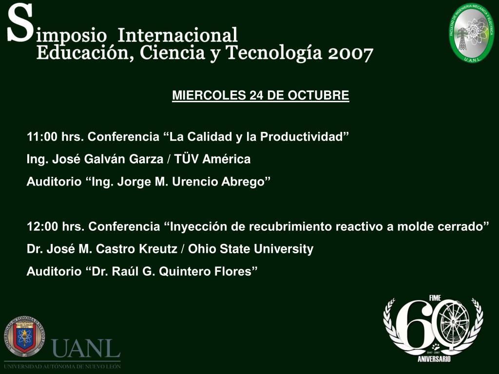 MIERCOLES 24 DE OCTUBRE
