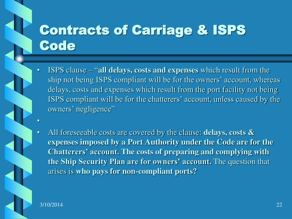 Contracts of Carriage & ISPS Code