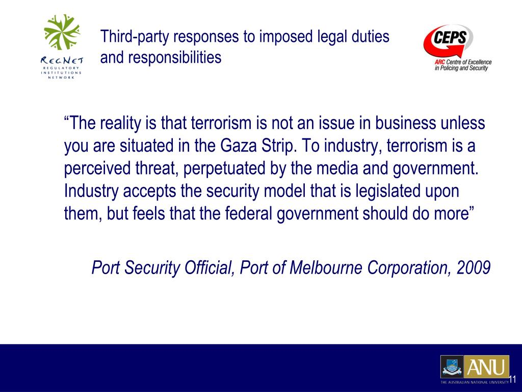 Third-party responses to imposed legal duties and responsibilities