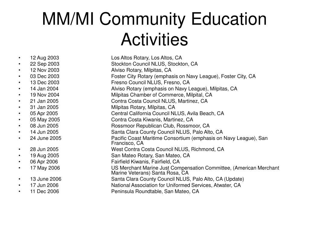 MM/MI Community Education Activities