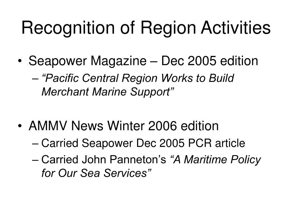 Recognition of Region Activities