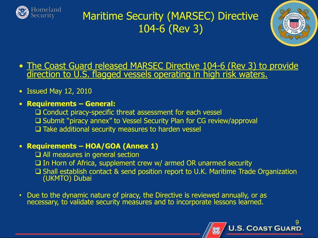 Maritime Security (MARSEC) Directive