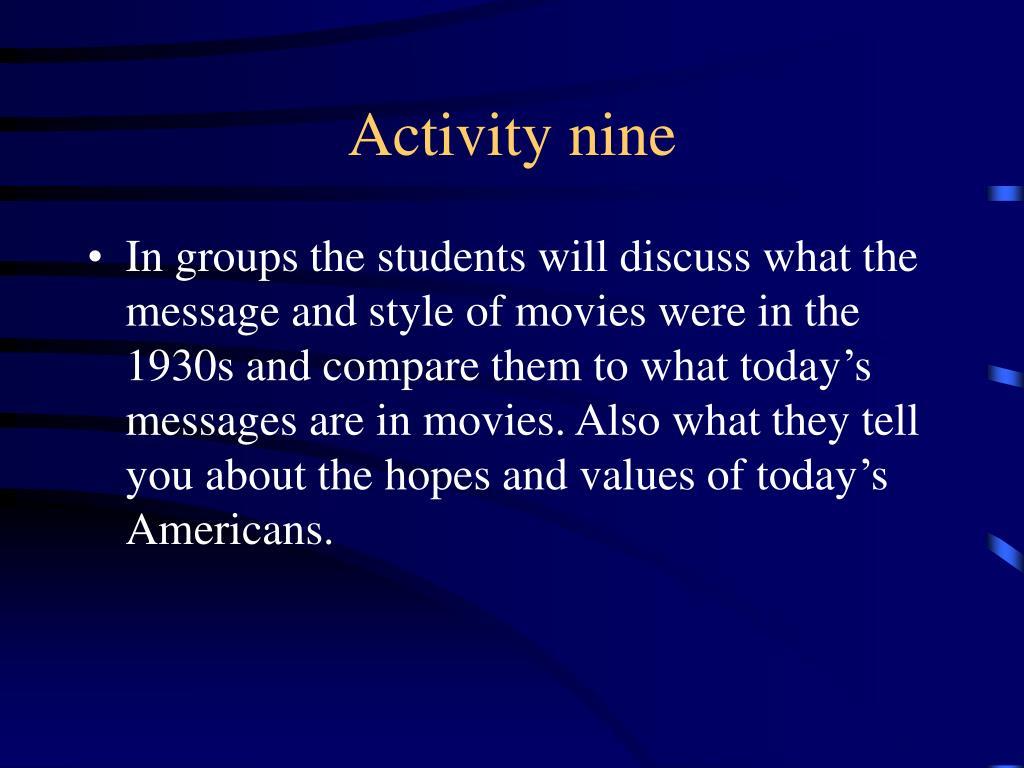 Activity nine