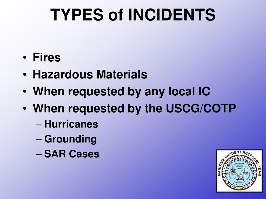 TYPES of INCIDENTS
