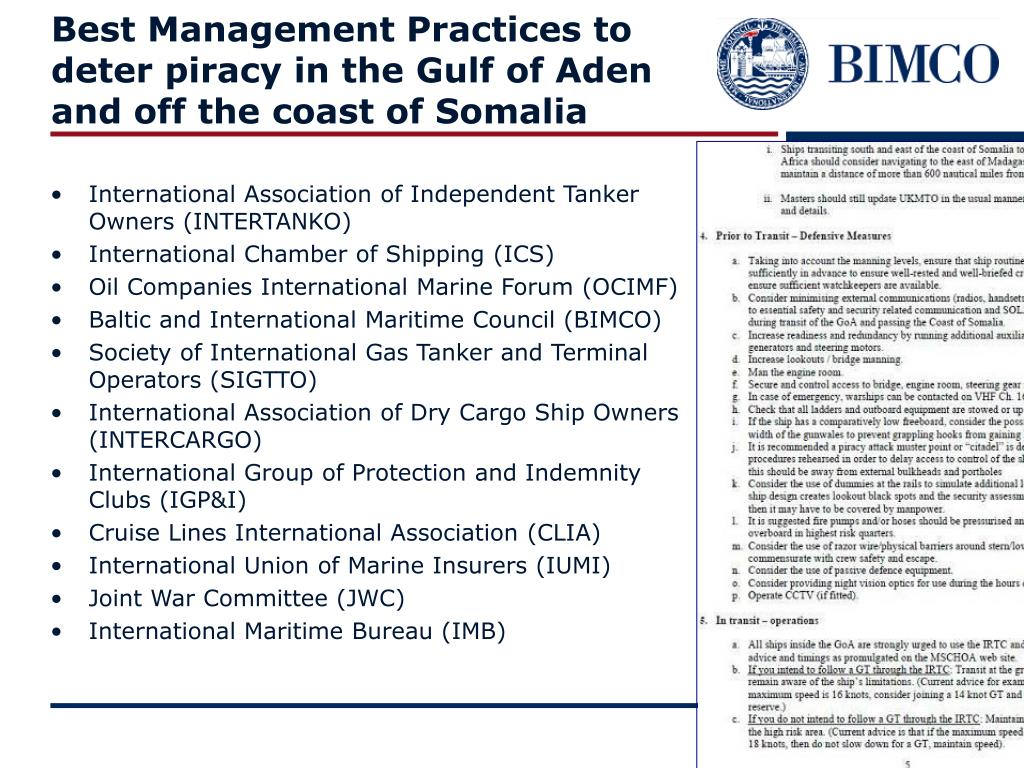 Best Management Practices to deter piracy in the Gulf of Aden and off the coast of Somalia