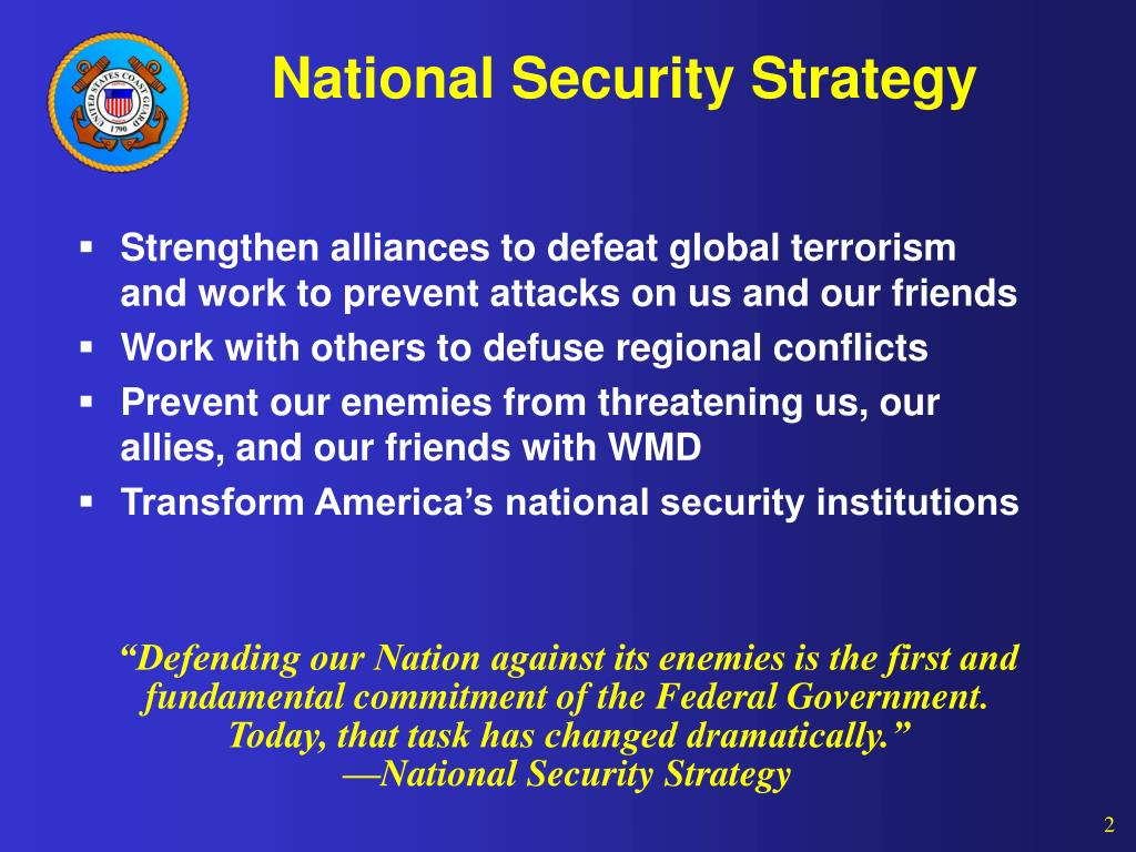 national security strategy At least once in a president's term, the white house releases a document called  the national security strategy mandated by congress since.