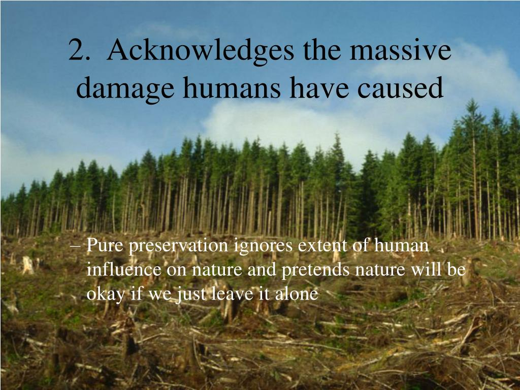 2.  Acknowledges the massive damage humans have caused