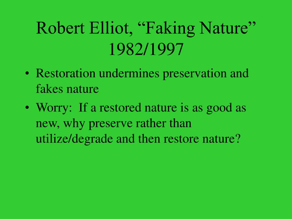 "Robert Elliot, ""Faking Nature"" 1982/1997"