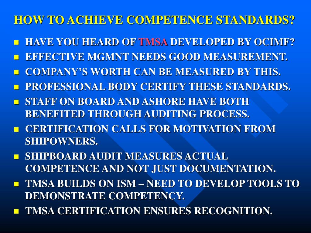 HOW TO ACHIEVE COMPETENCE STANDARDS?