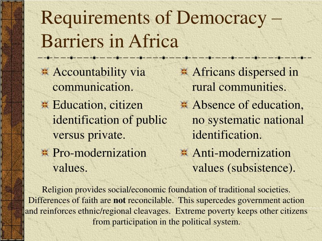 barriers to the democratisation of africa 2 |five barriers to youth engagement, decision-making, and leadership in   east and north africa programme workshop  democracy, political parties, and.