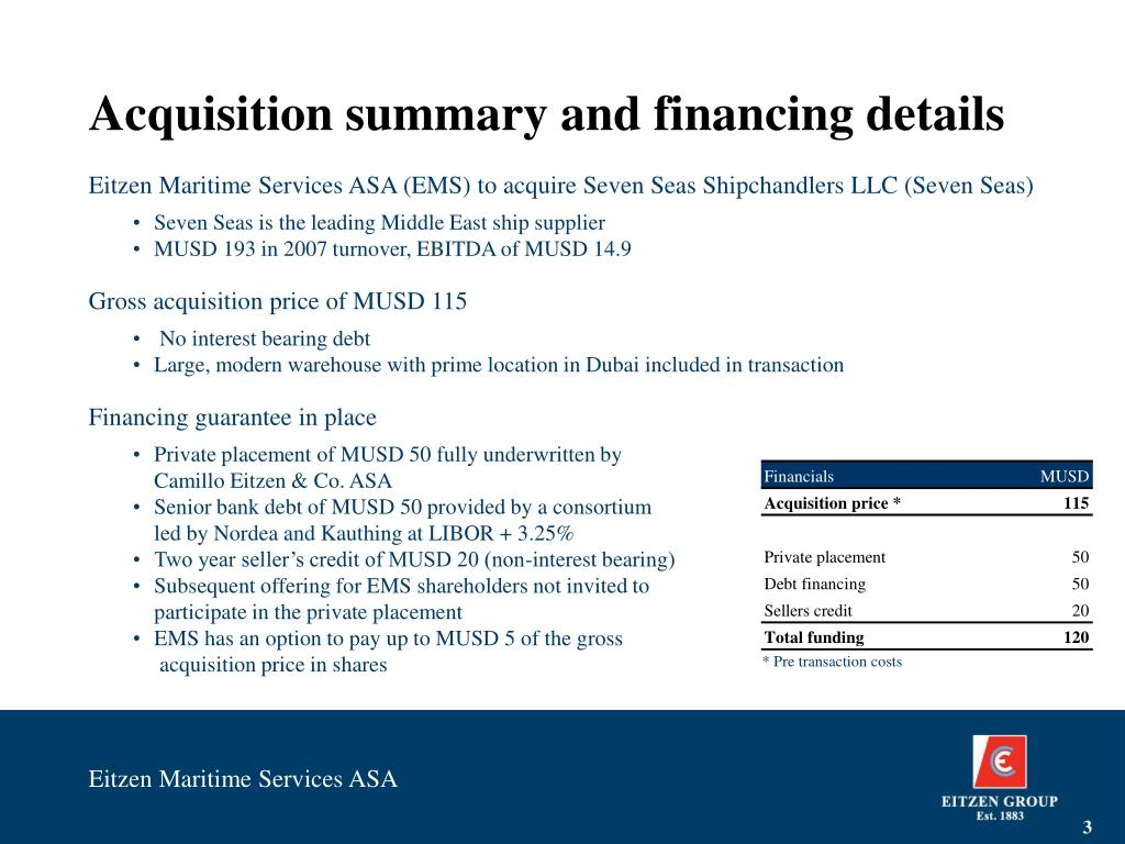 Acquisition summary and financing details