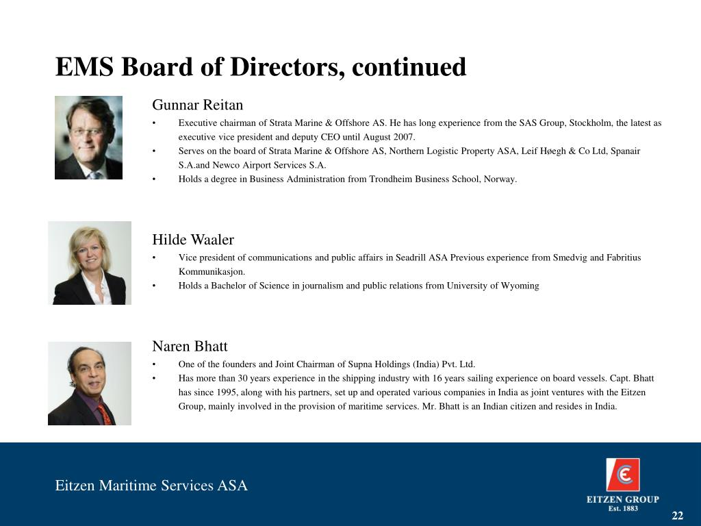 EMS Board of Directors, continued