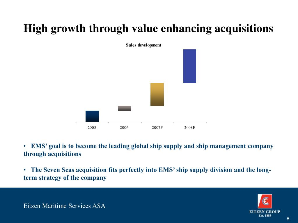 High growth through value enhancing acquisitions