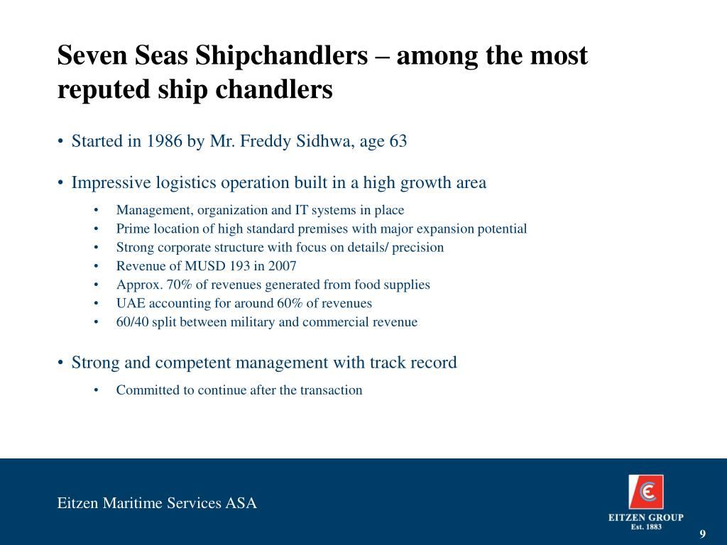 Seven Seas Shipchandlers – among the most reputed ship chandlers