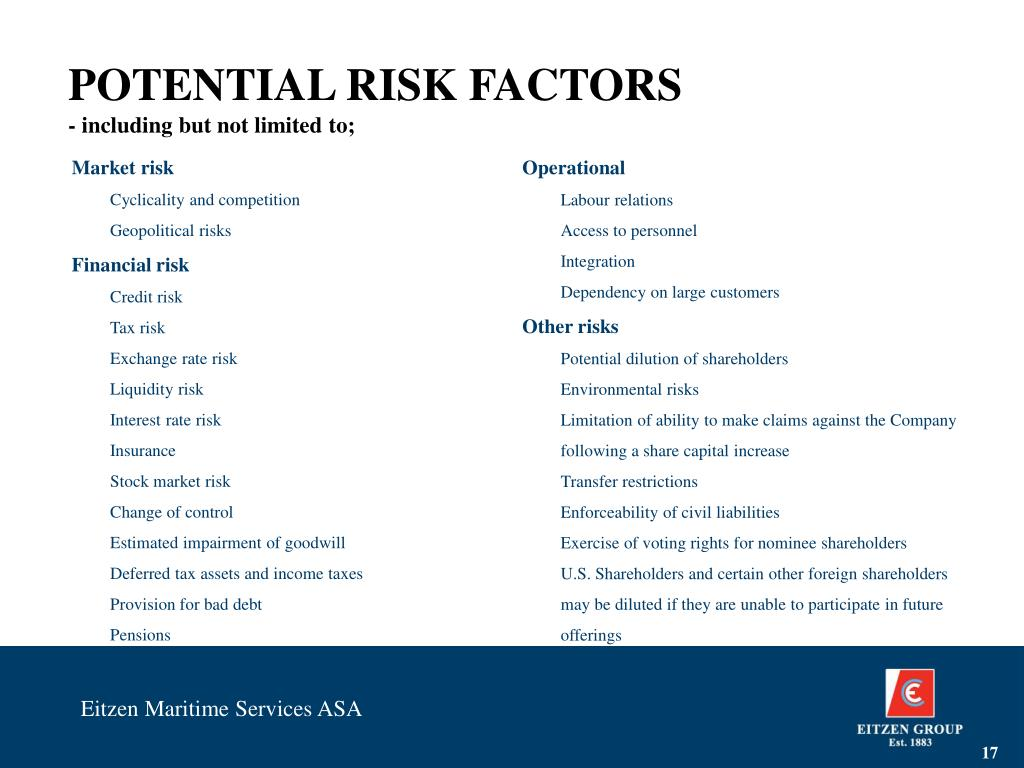 POTENTIAL RISK FACTORS