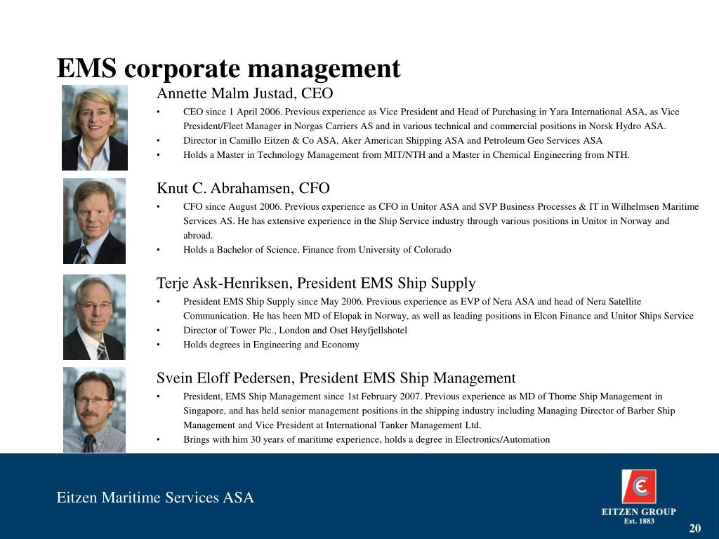 EMS corporate management