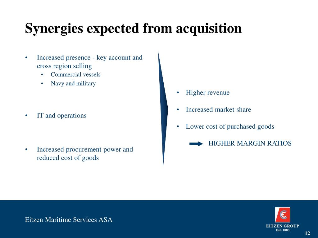 Synergies expected from acquisition