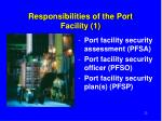 responsibilities of the port facility 1