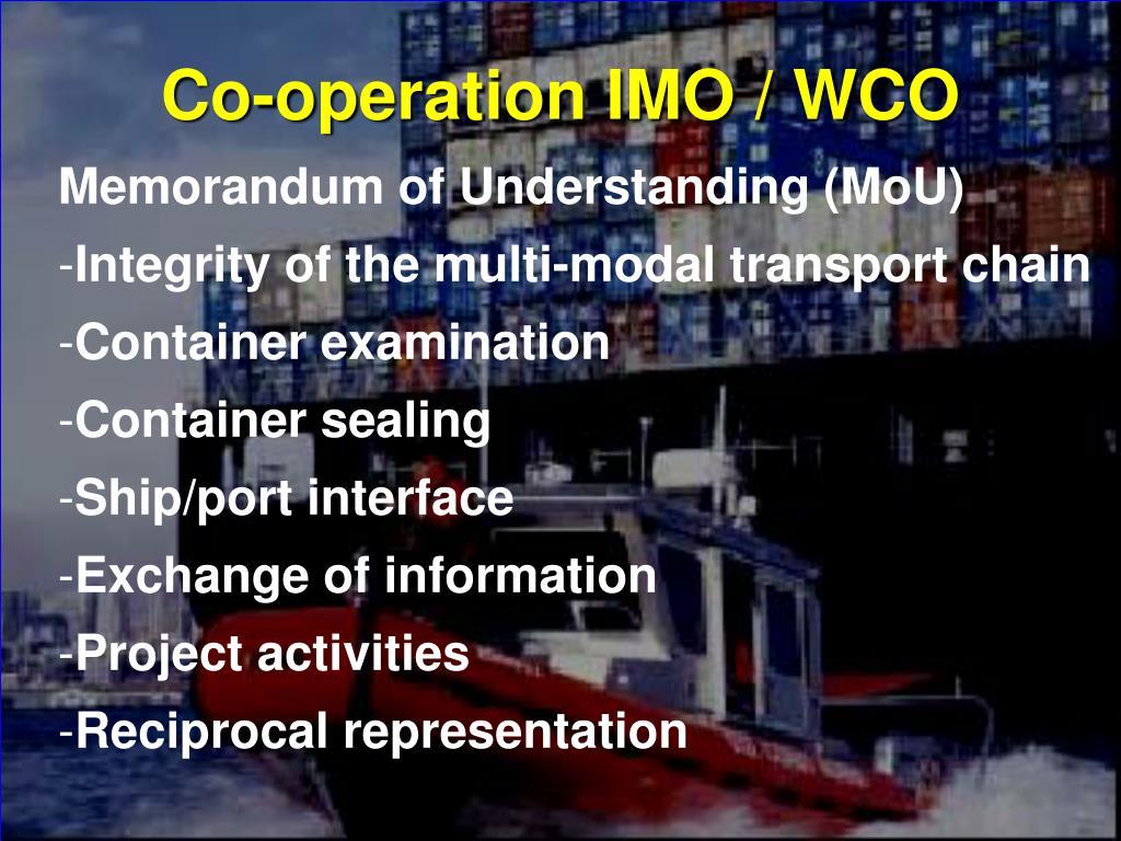 Co-operation IMO / WCO
