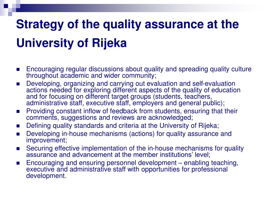 Strategy of the quality assurance at the University of Rijeka