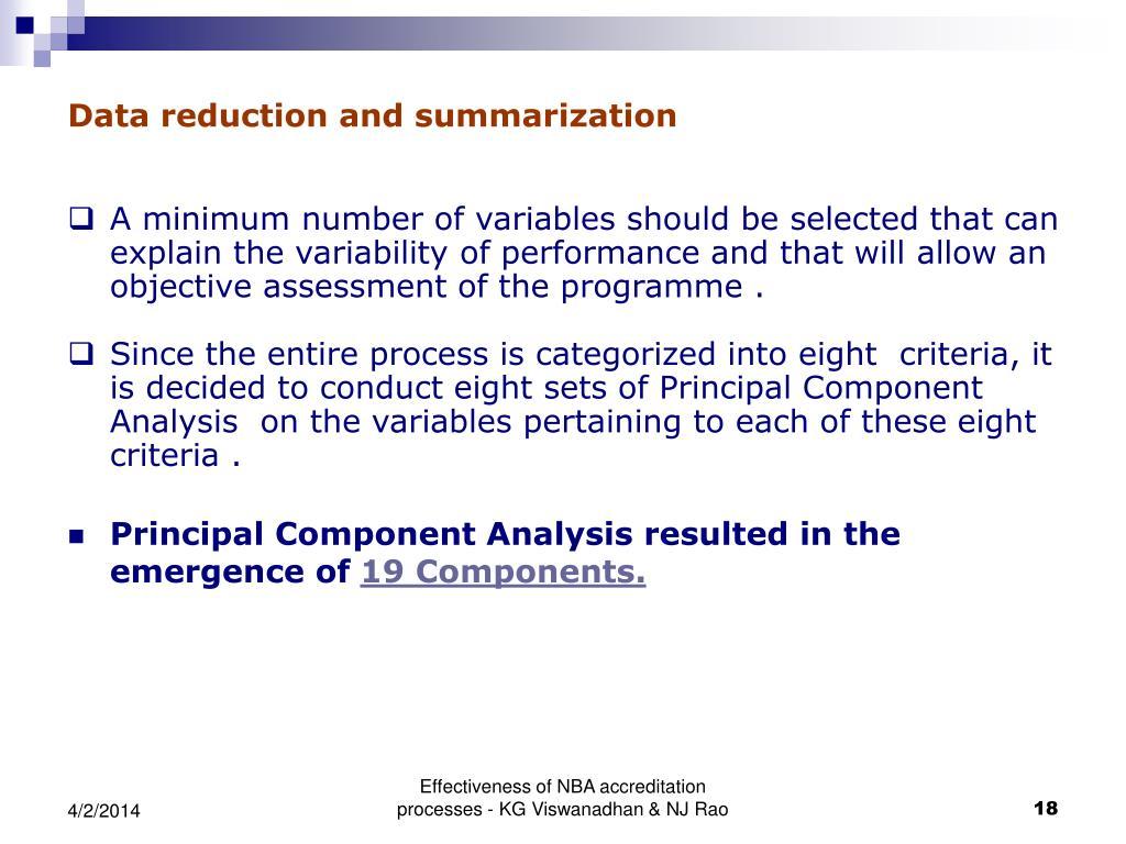 Data reduction and summarization
